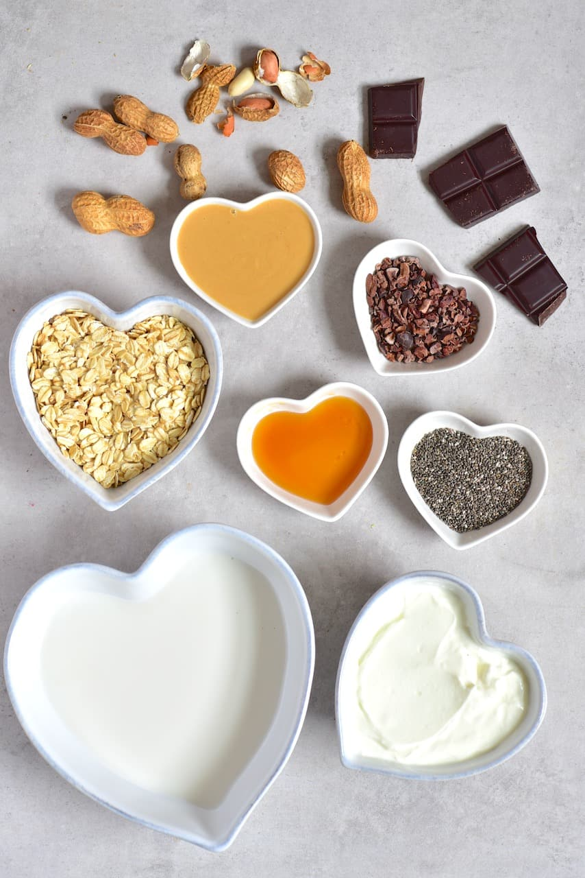 Ingredients for Cookie dough overnight oats
