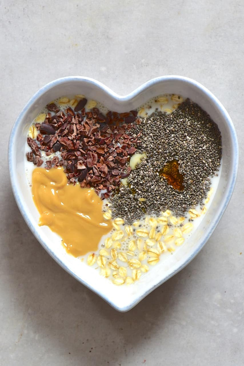 Mixing the overnight oats layer