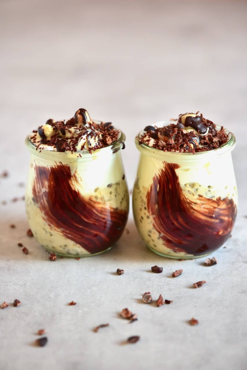 Two jars of Healthy Cookie Dough Overnight Oats