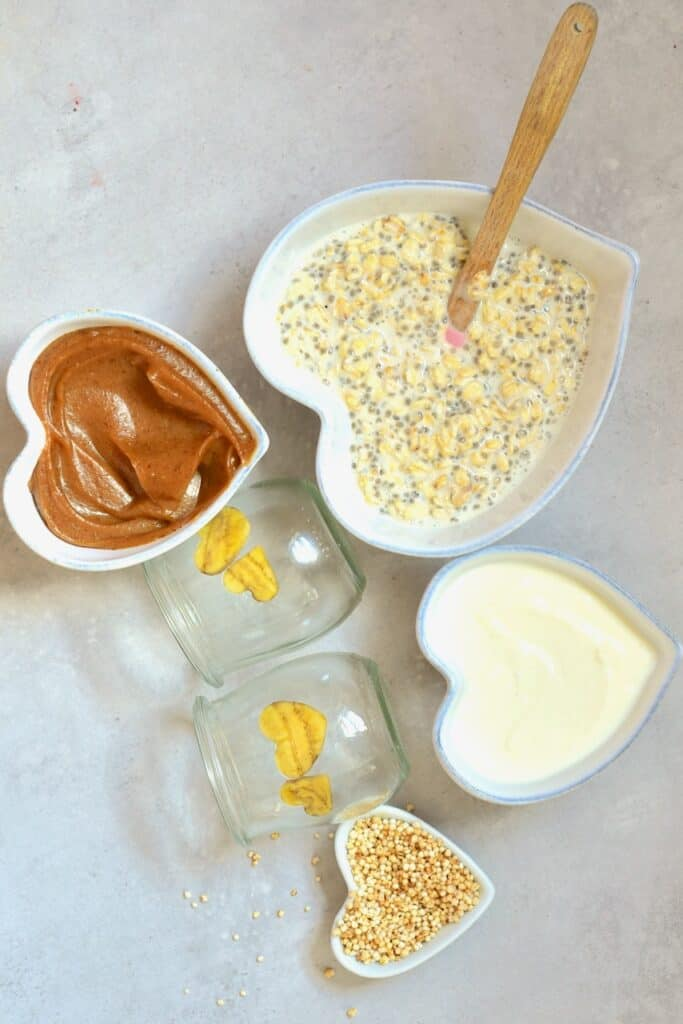 Ingredients for Salted Caramel Overnight Oats
