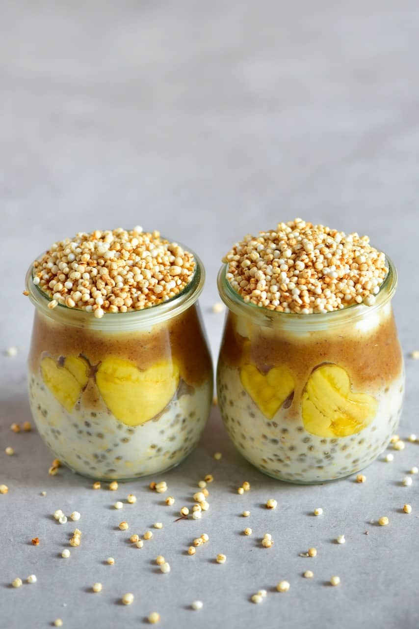 Two jars with Salted Caramel Overnight Oats