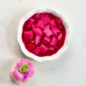 Square image of pickled turnips