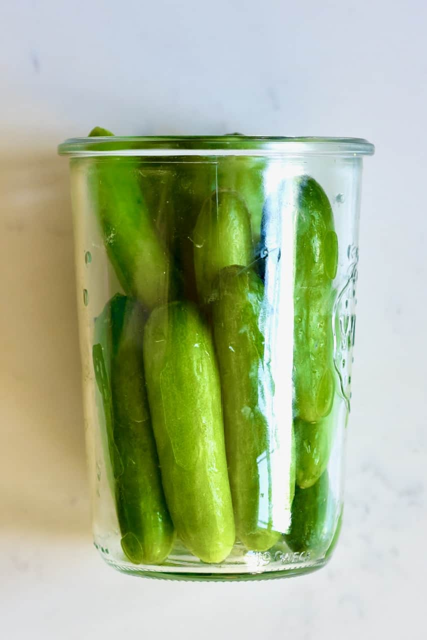 Cucumbers in a jar