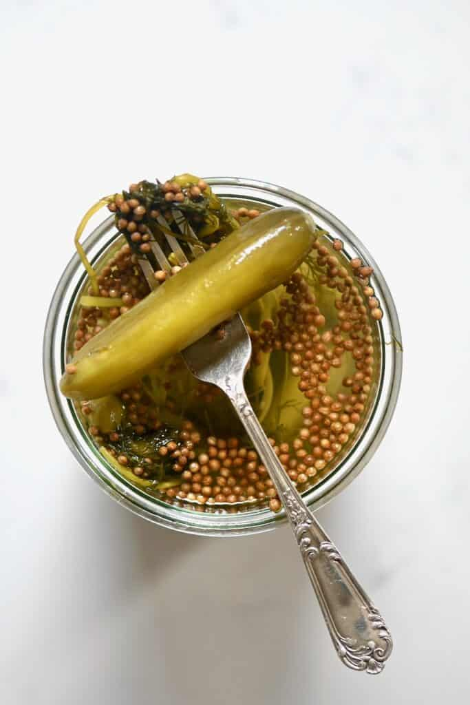 cucumber pickles on a fork