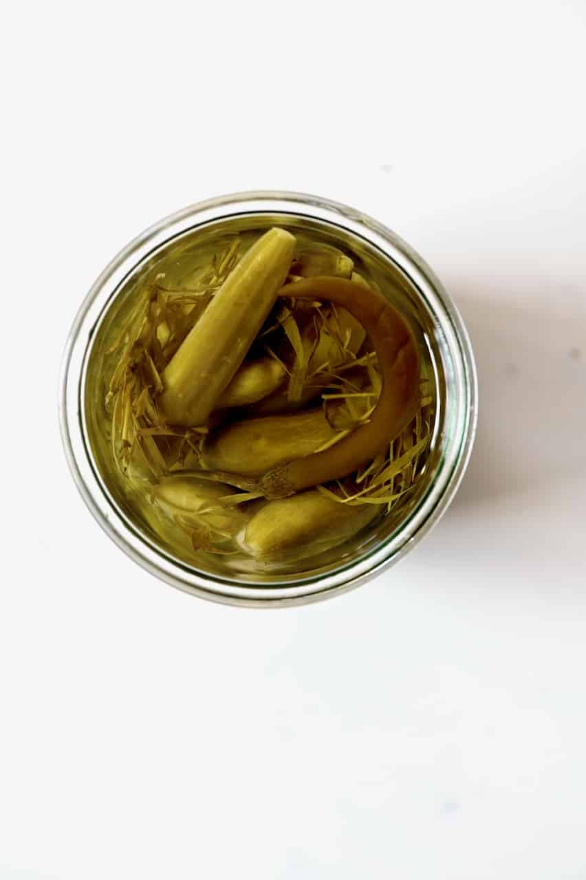 Pickled cucumbers in a jar