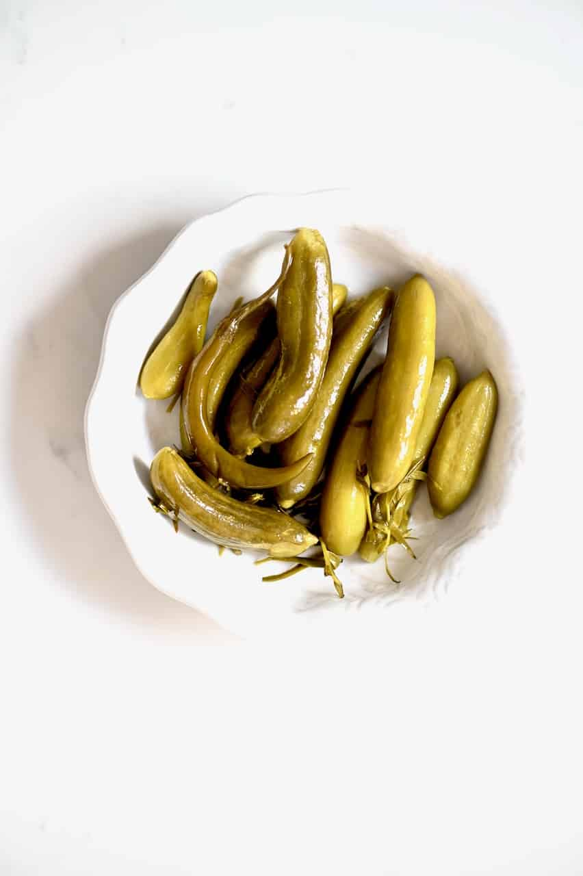 Homemade pickles in a bowl