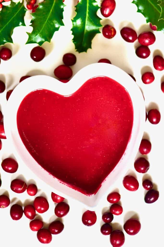 cranberry sauce inside a heart shaped bowl