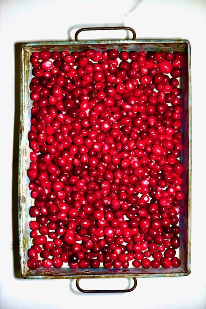 cranberries on a serving metal tray