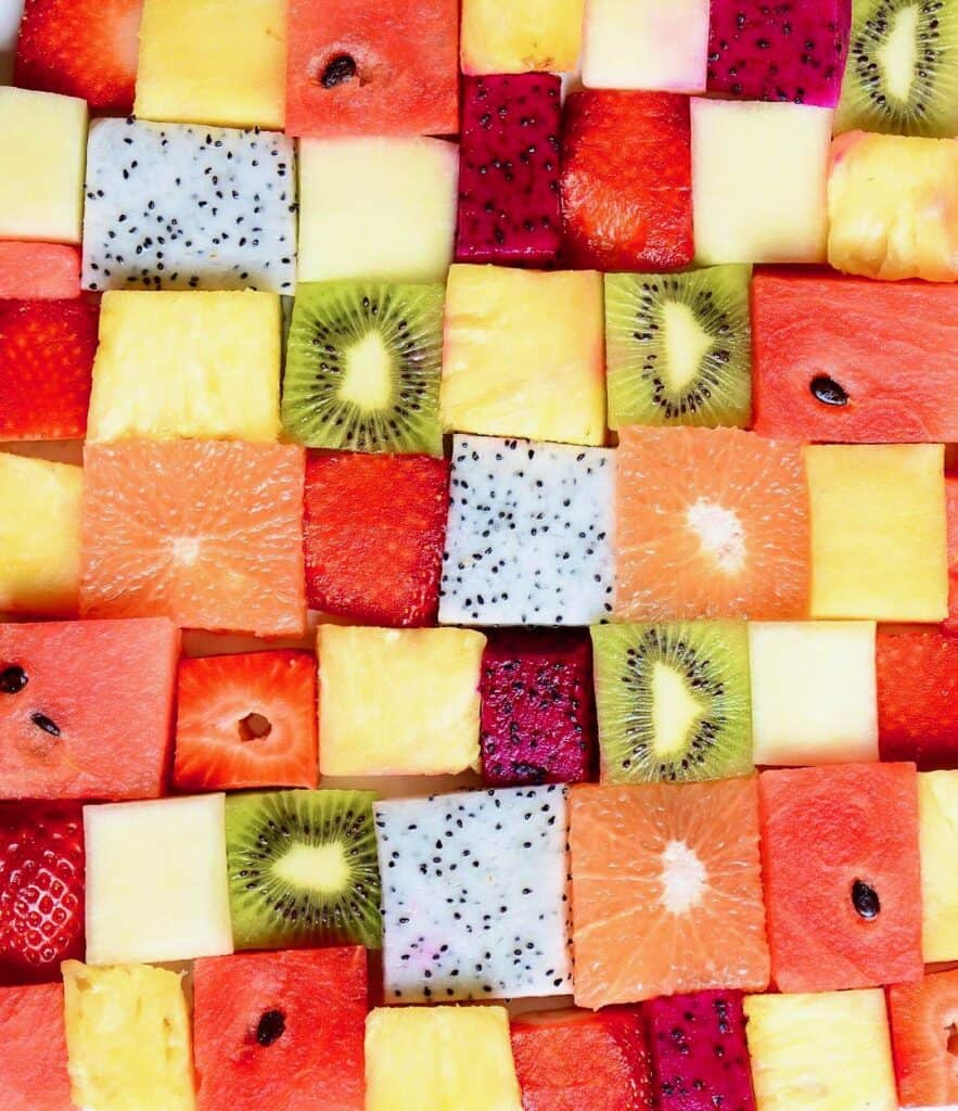 Squares of fruit