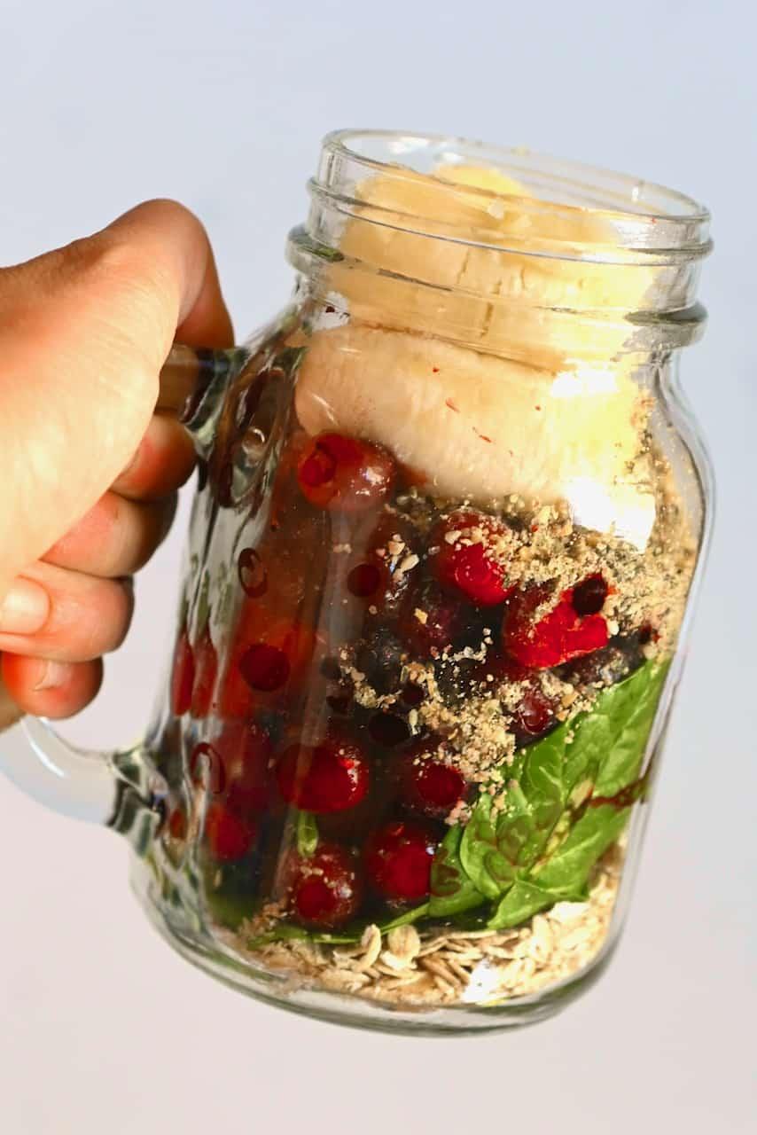 Smoothie ingredients in a jar
