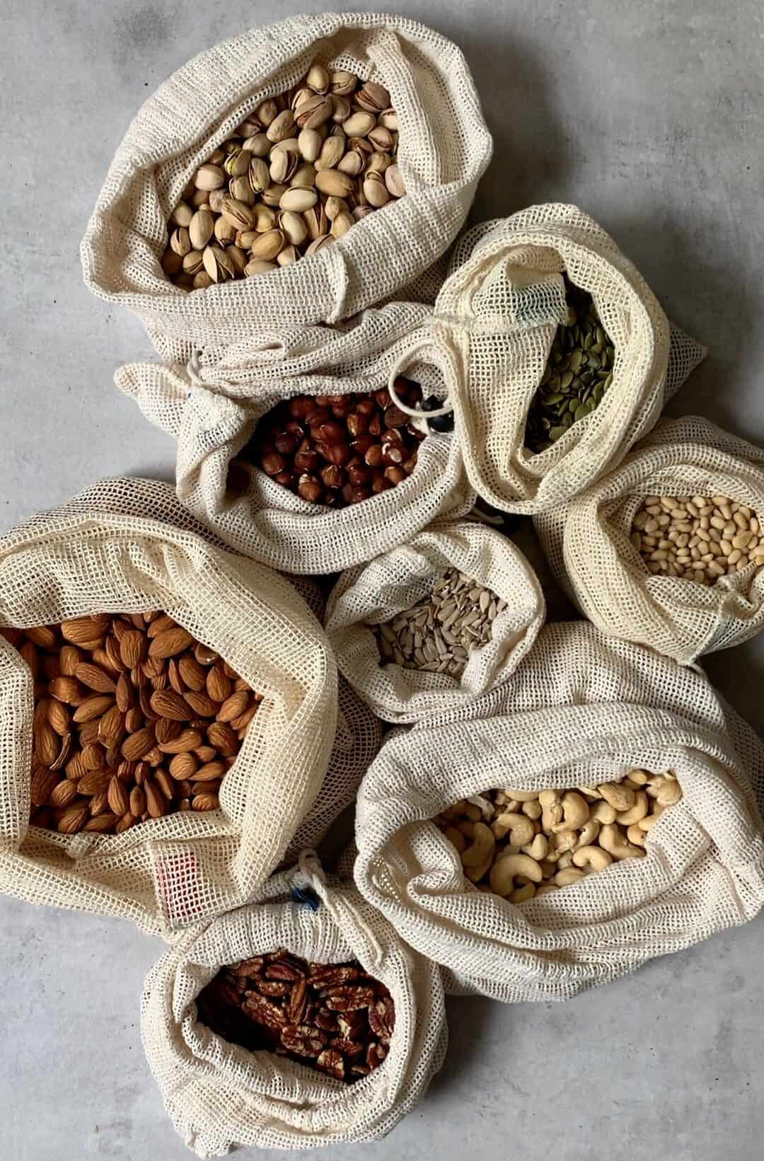 Nuts and seeds in recyclable bags