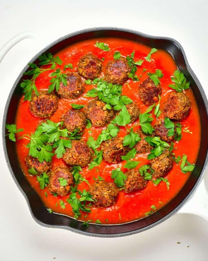 lentil meatballs in tomato sauce high fiber recipe