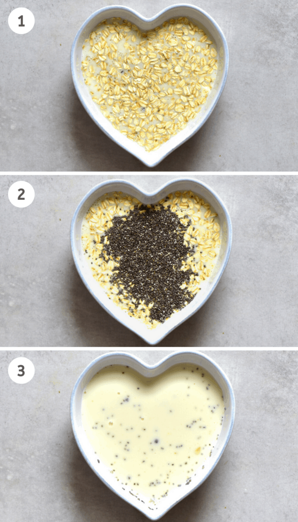 Steps for mixing oats for salted caramel overnight oats