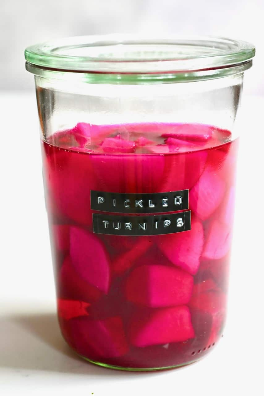 Pickled pink turnips
