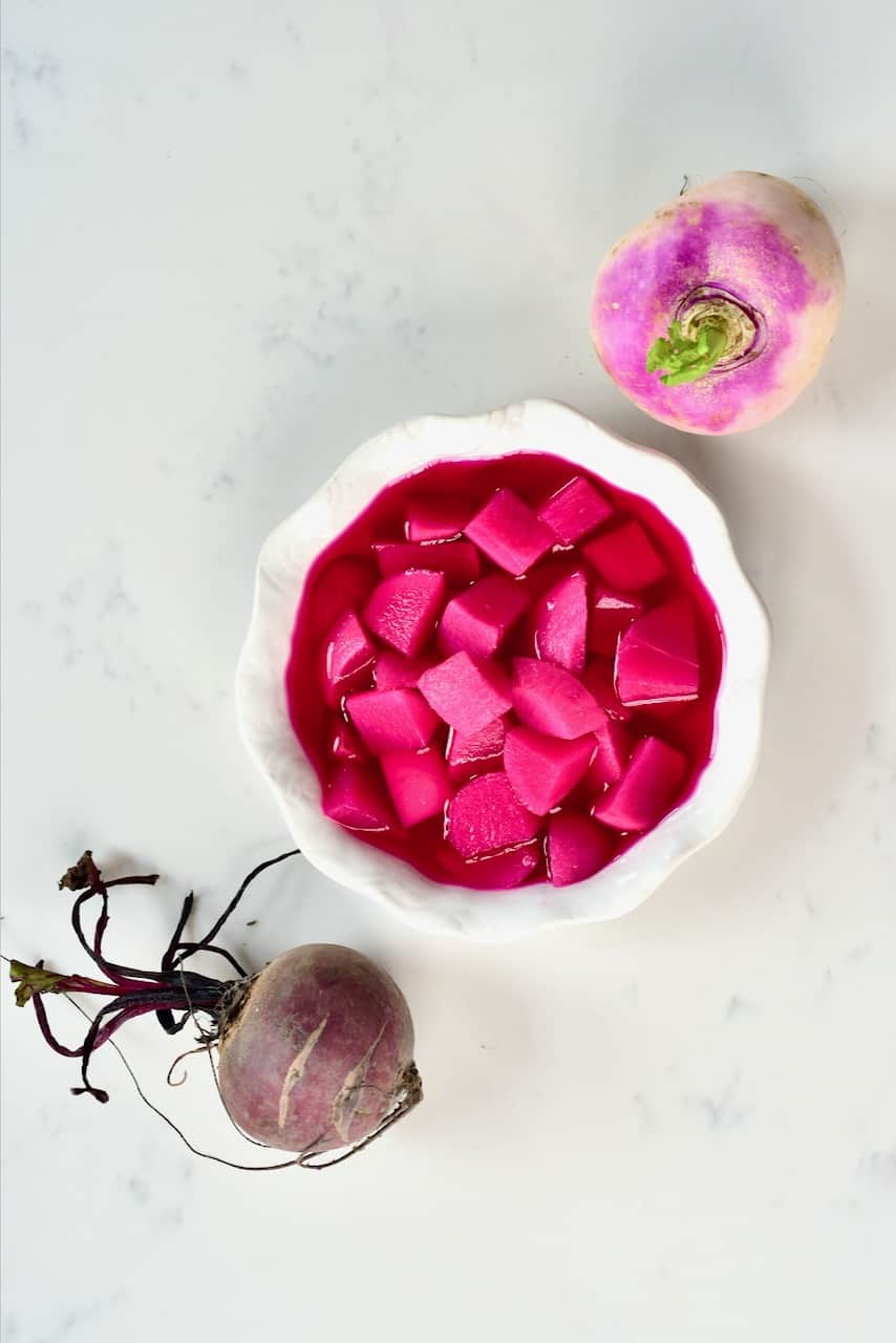 Pink pickled turnips with beetroot