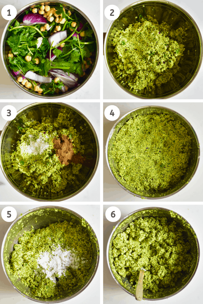 Steps to making falafel paste