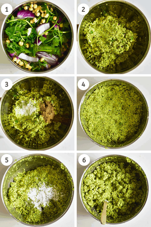 Steps to making falafel paste