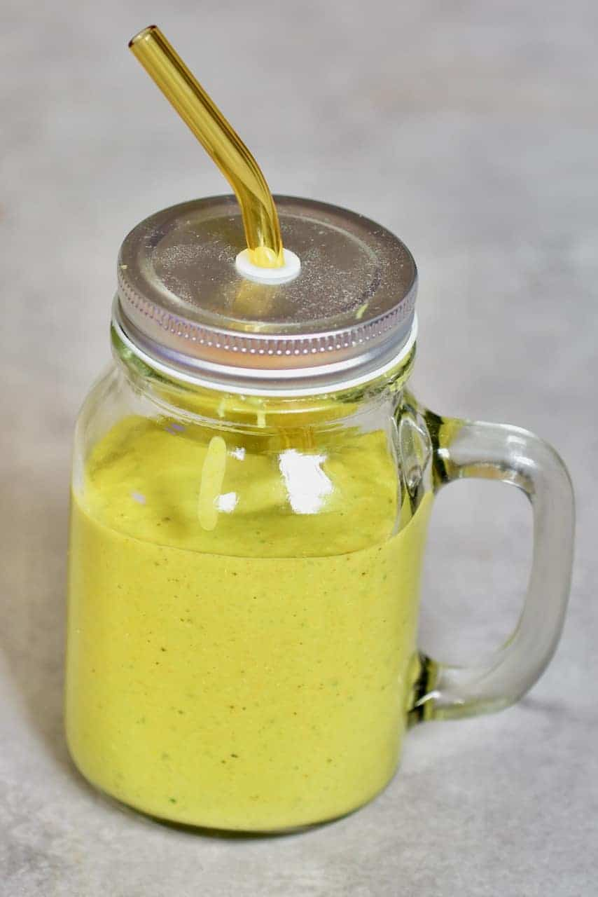 Tropical Mango Smoothie in a jar
