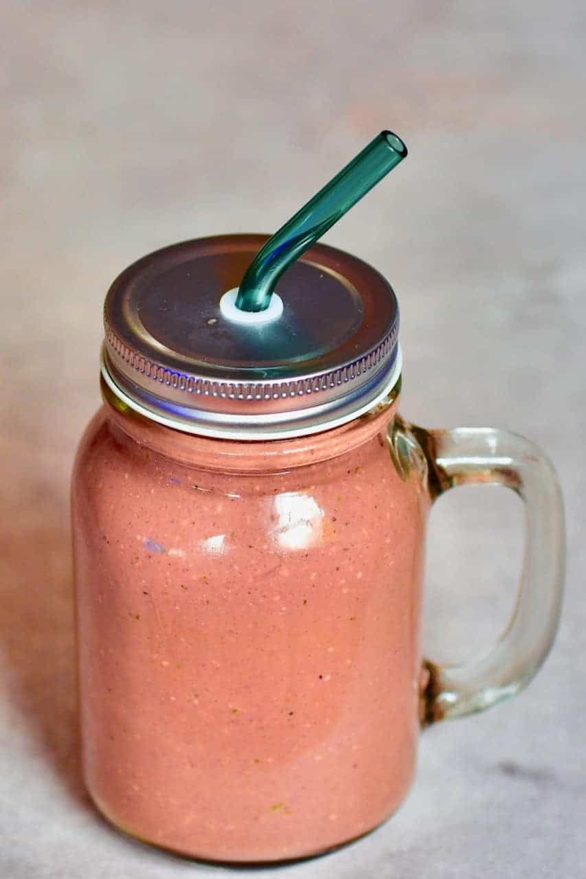 Açai smoothie in a jar