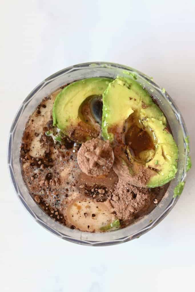 Making avocado chocolate frosting