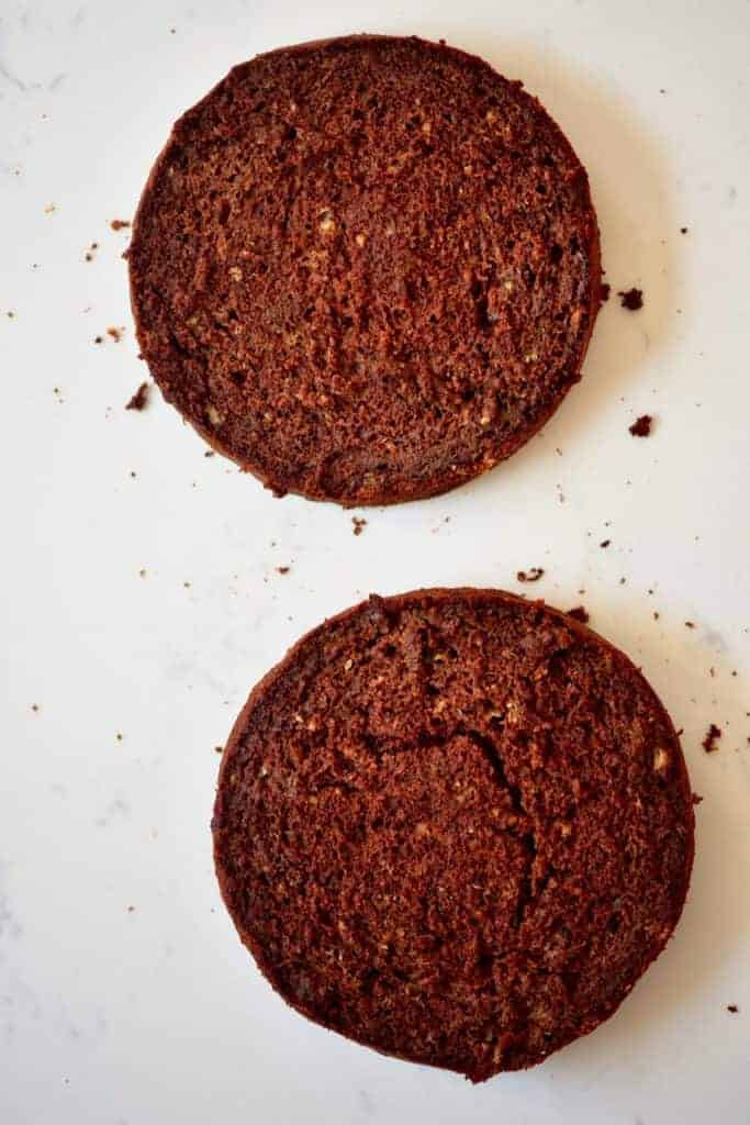 Chocolate cake cut in two