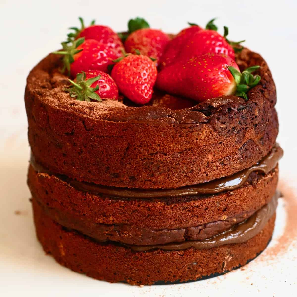 gluten free chocolate cake topped with strawberries