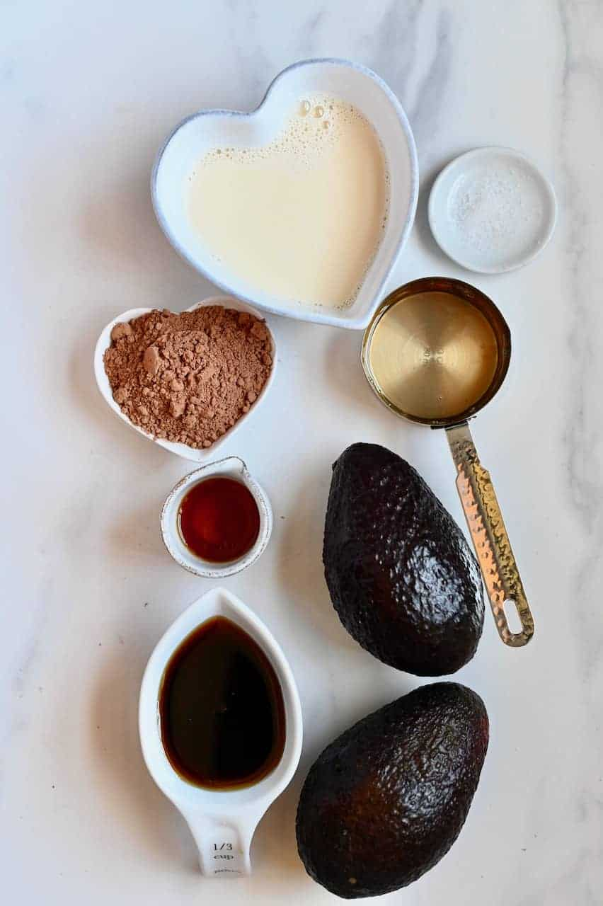 Ingredients for Avocado chocolate frosting