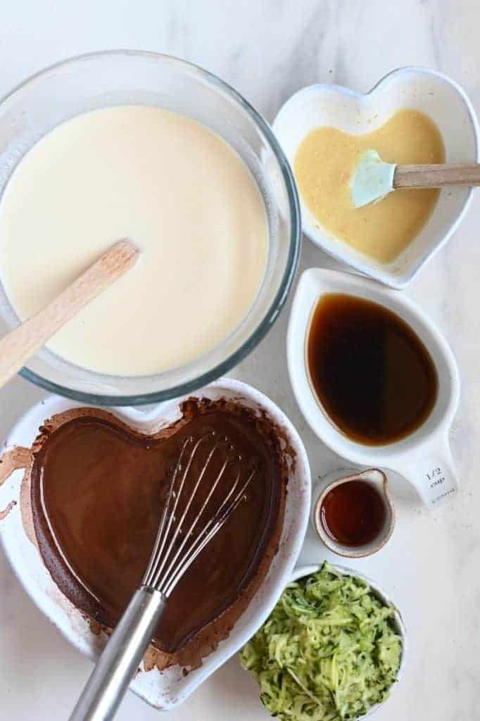 Ready ingredients for chocolate cake