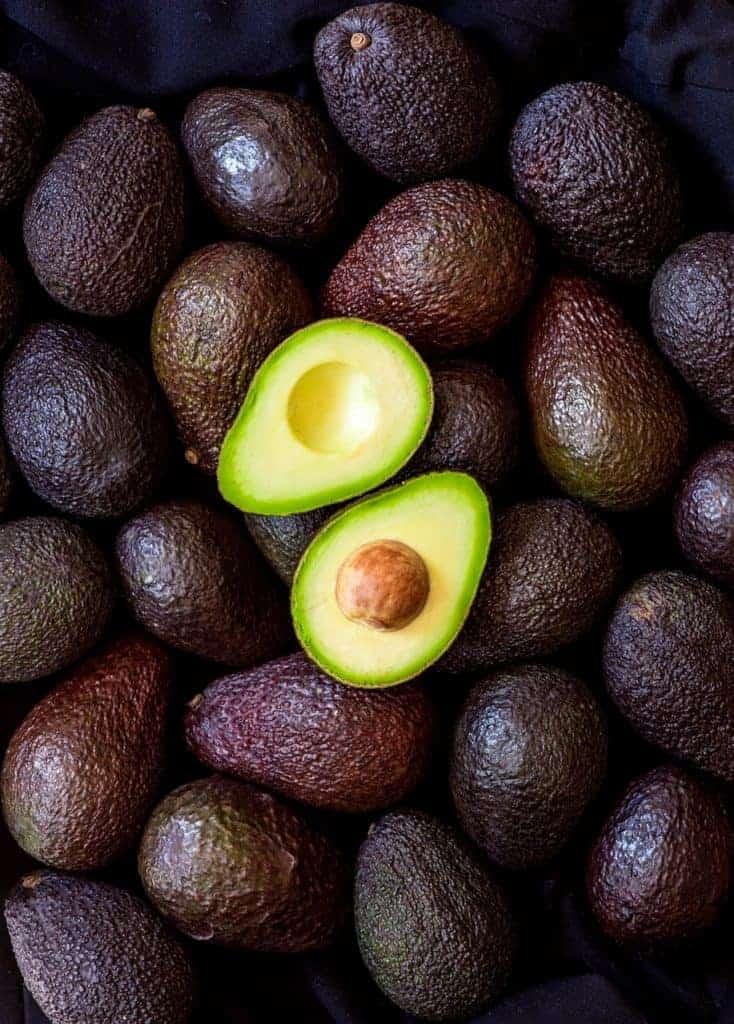 avocado flat lay