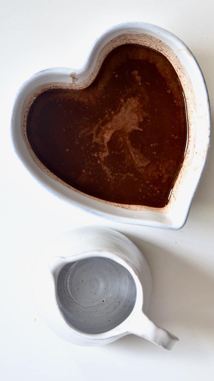 chocolate fudge mixture and a small jug