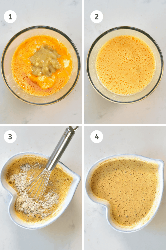 initial steps to making pancakes