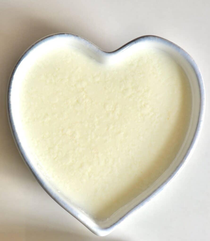 Buttermilk in a heart shaped bowl