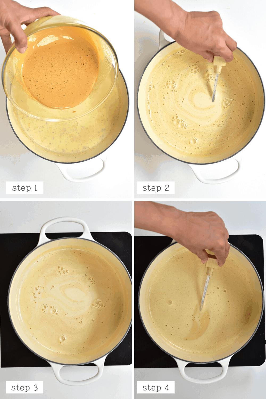 Caramel Ice Cream mixing eggs with milk and cream