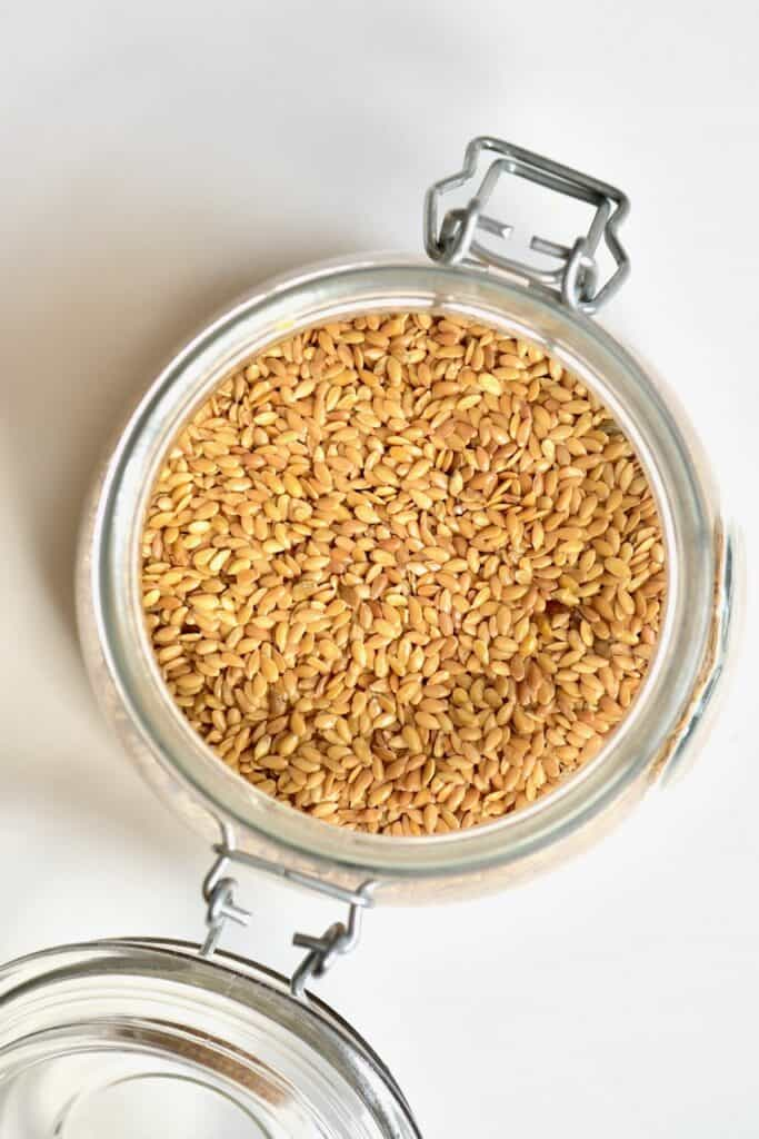 Golden Flaxseed insdie a glass jar