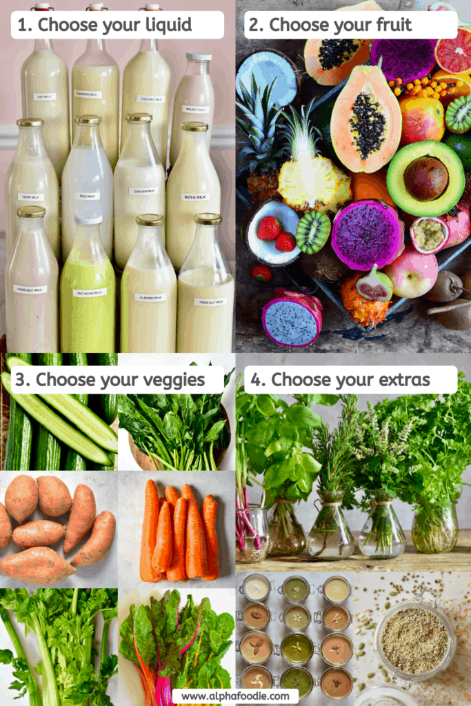 Healthy smoothie choices for ingredients