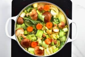 Making vegetable stock in a pot