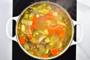 Cooked vegetable stock in a pot
