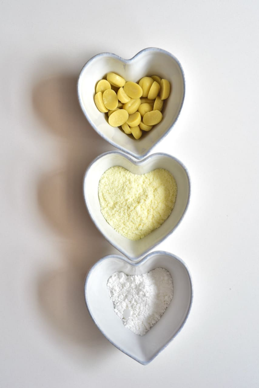 Ingredients for making white milk chocolate
