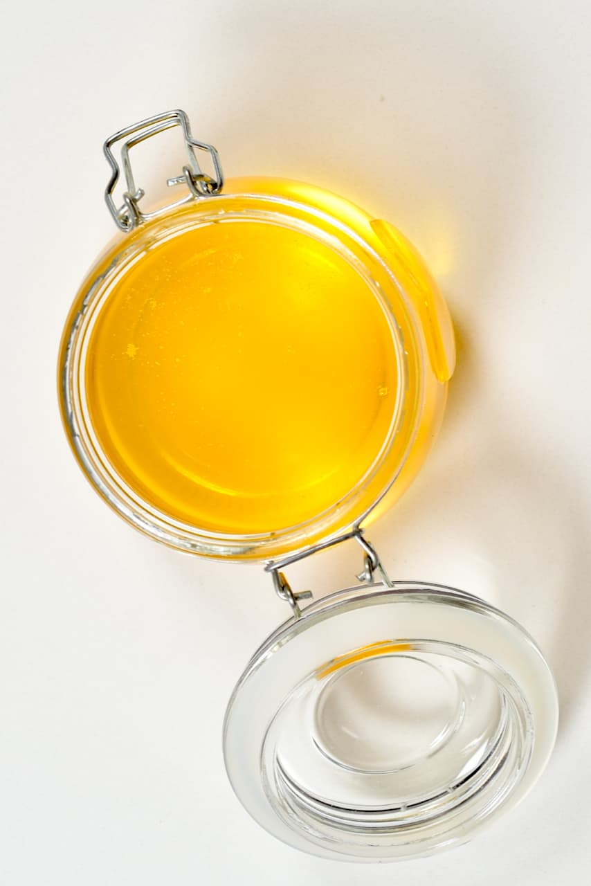 Melted butter - ghee in a jar