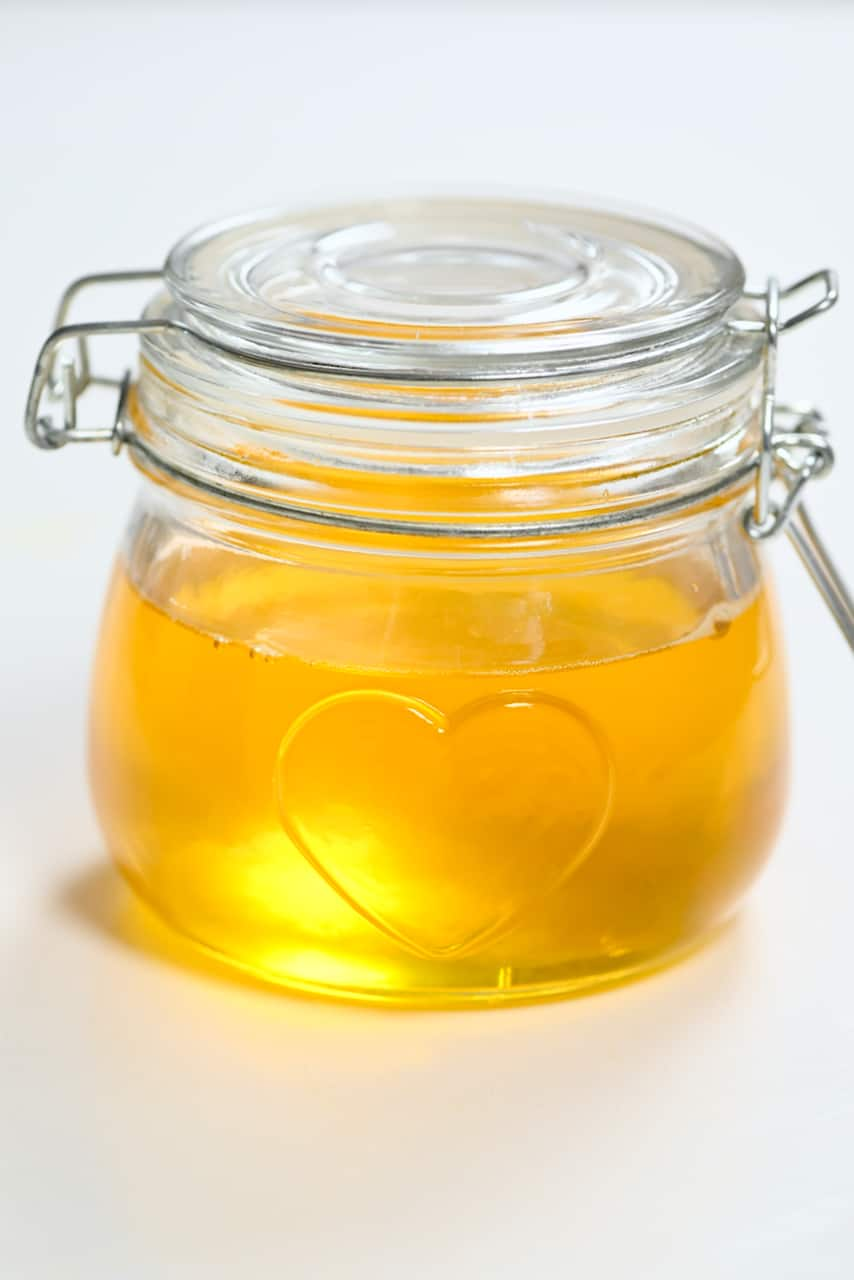 Melted ghee in a jar