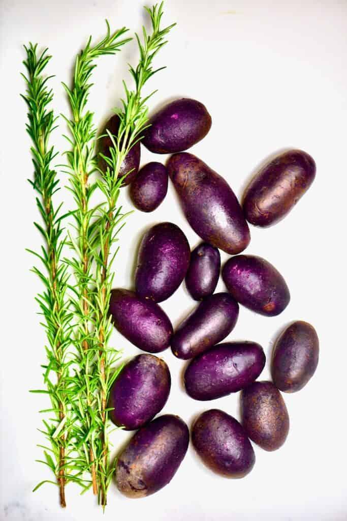 Purple potatoes and rosemary