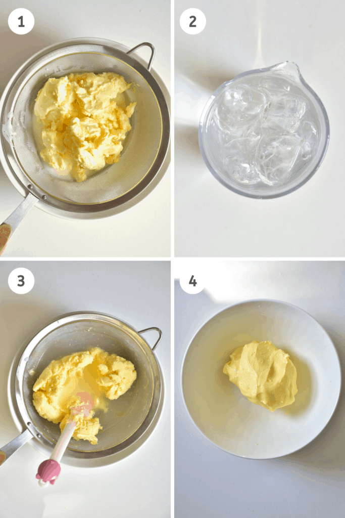 Rinsing homemade butter with ice cold water