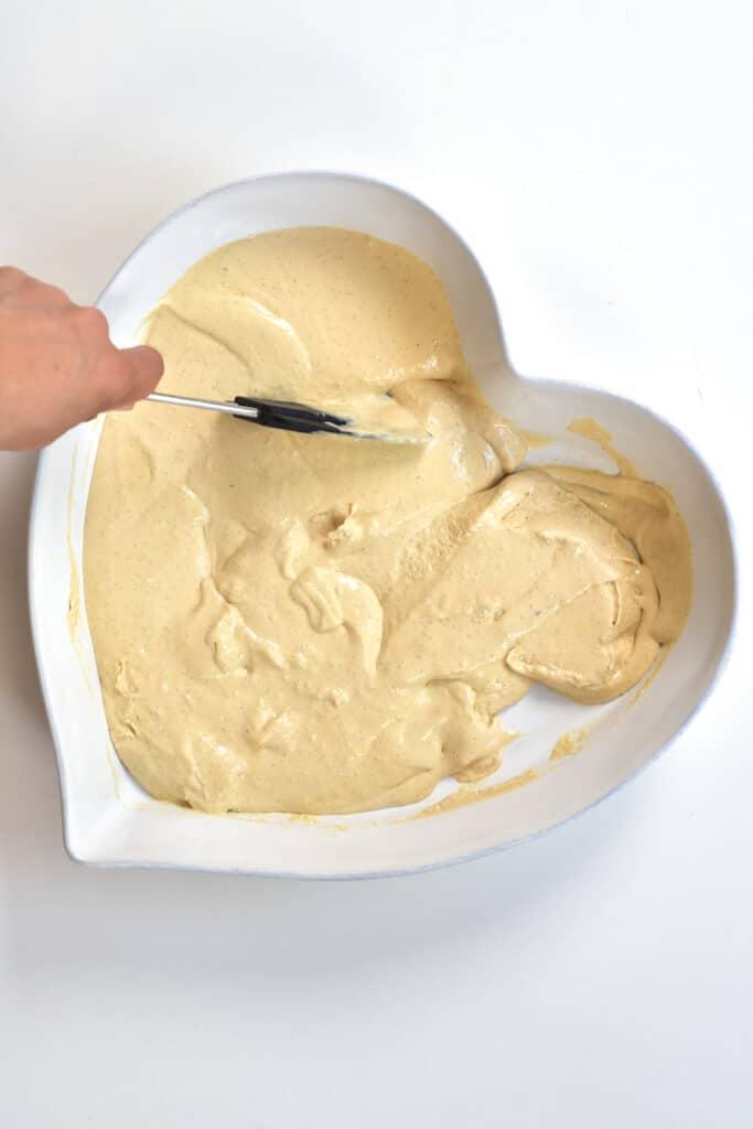Stirring cooled Caramel Ice Cream