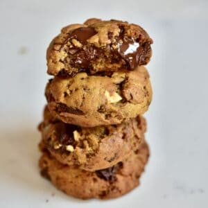 Vegan Chocolate Chip Cookies Stacked square