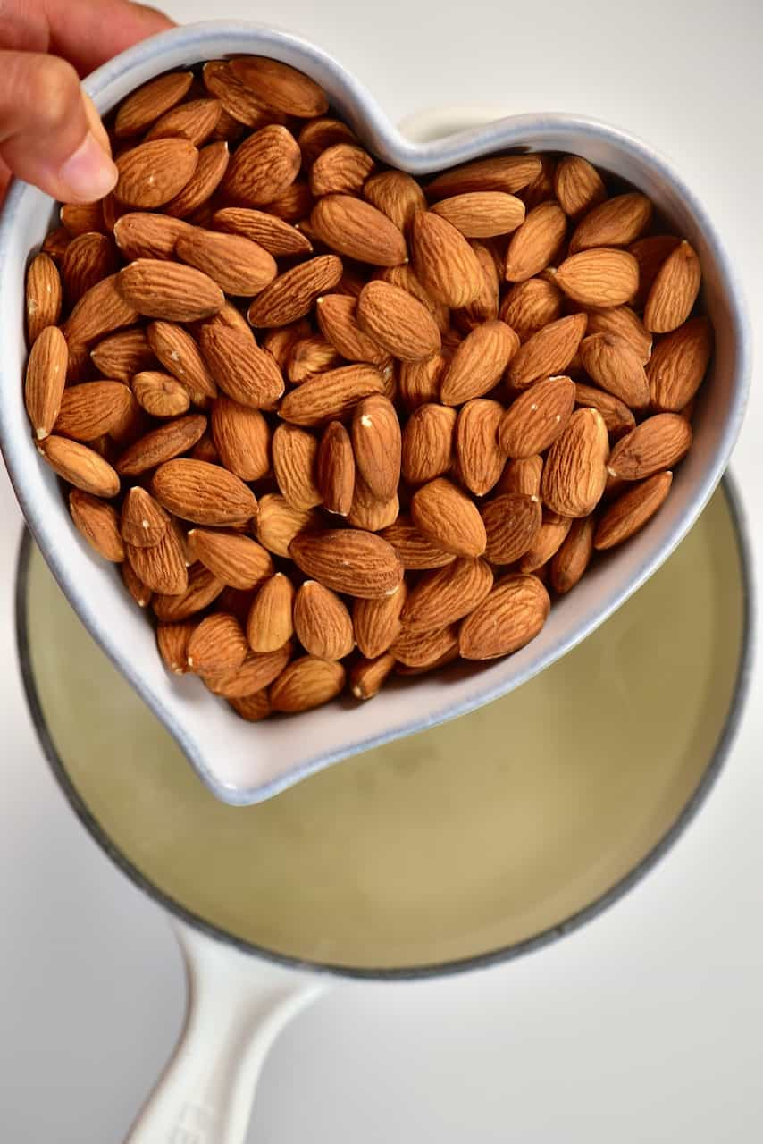 almonds and hot water pot