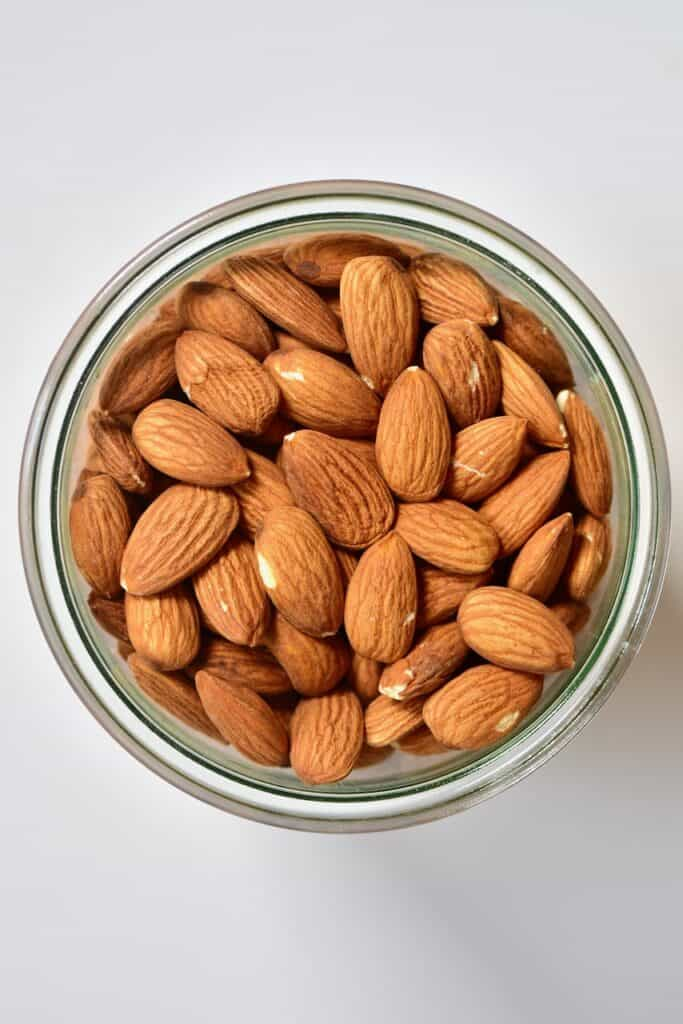 almonds in a glass container