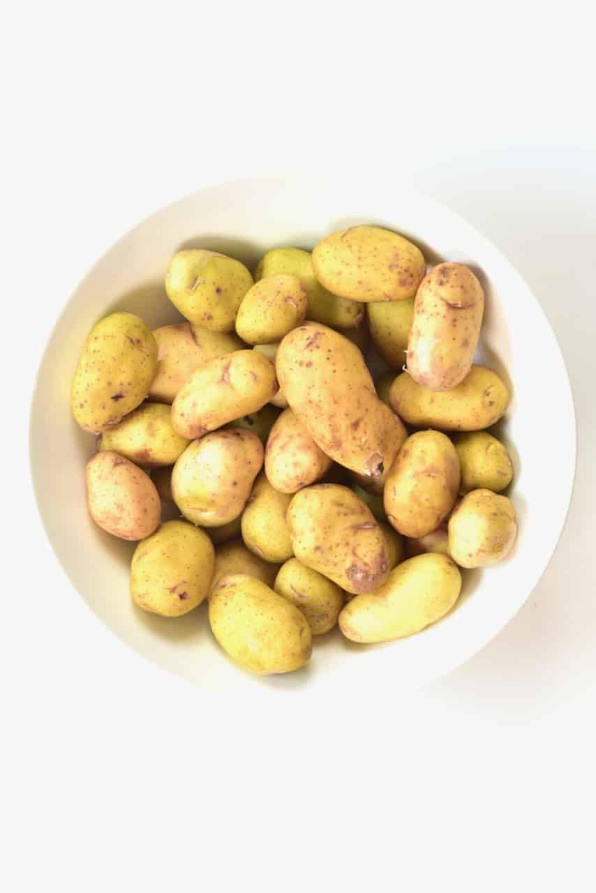 baby potatoes in a white bowl