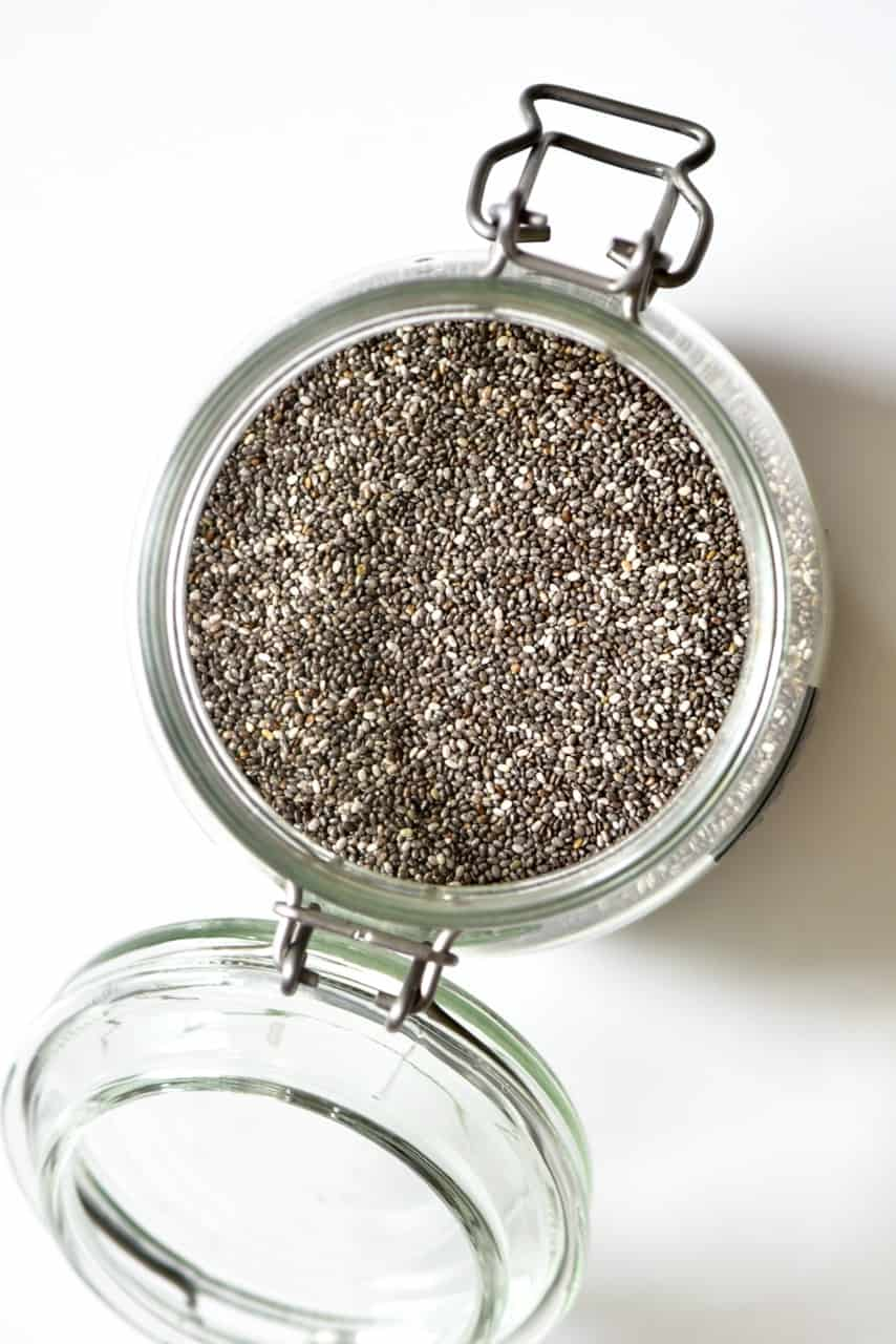 chia seeds in a glass jar