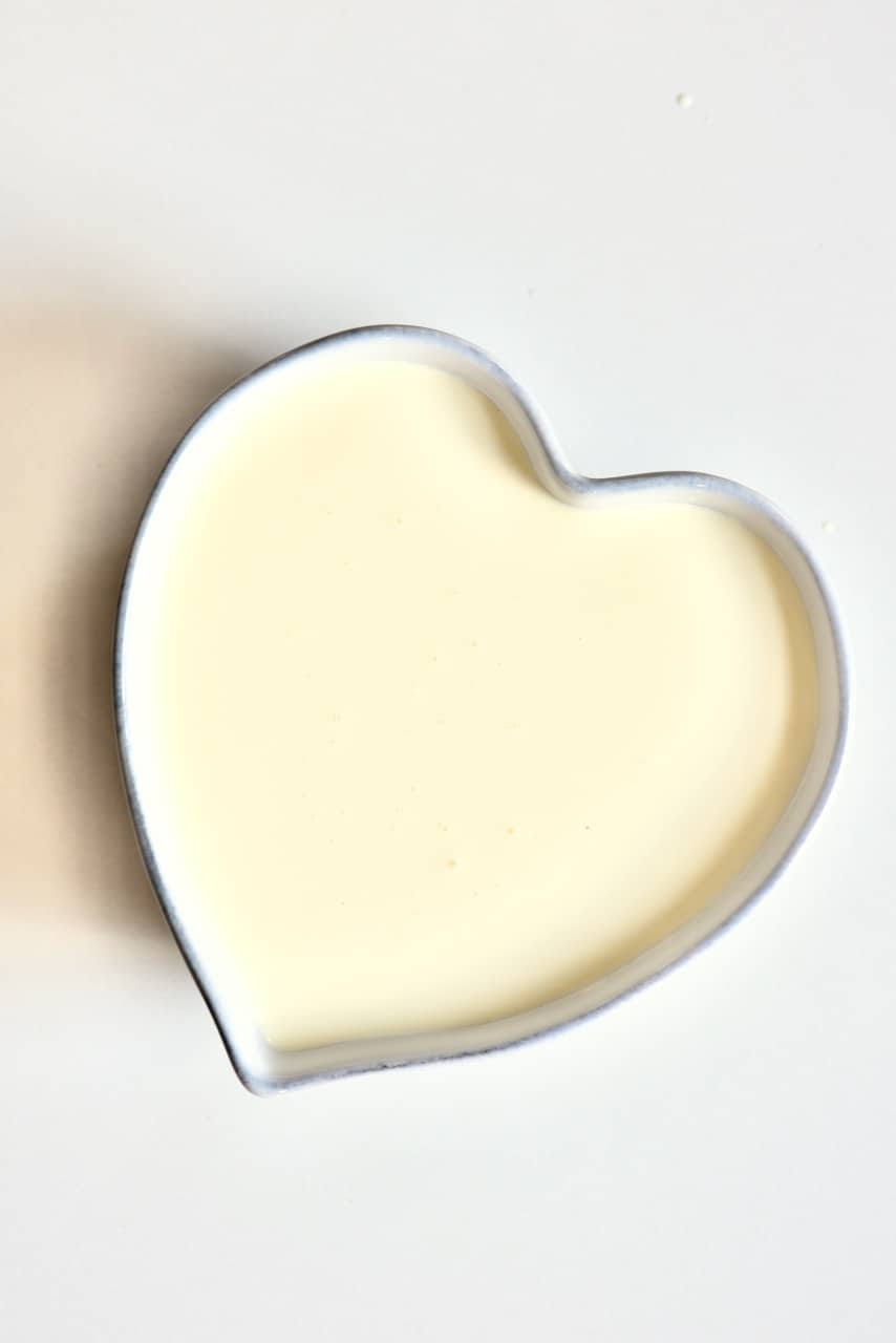 double cream in a heart shaped bowl