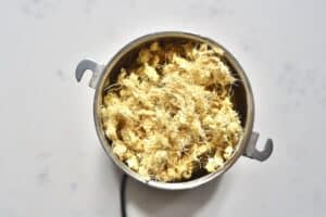 dried out ginger pulp inside a grinder
